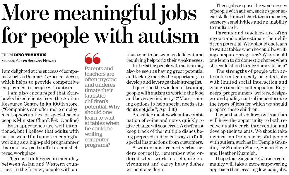 More meaningful jobs for people with autism
